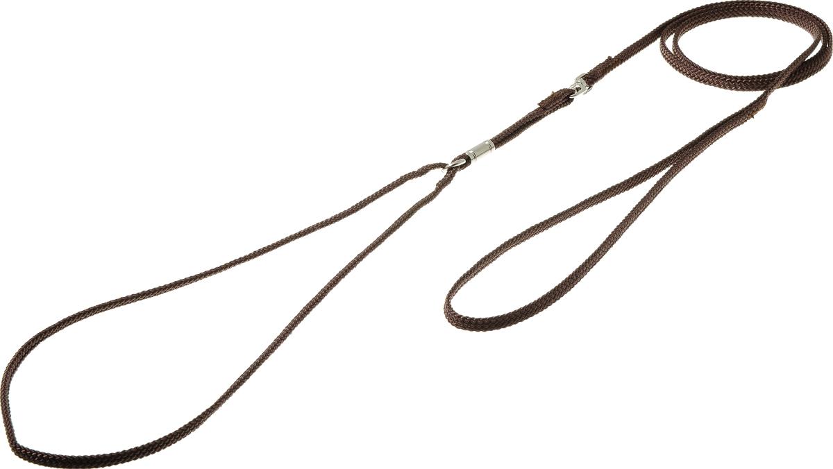 Ринговка V.I.Pet, с кольцом, цвет: коричневый. PEA-05PEA-05BRРинговка V.I.Pet - это специальный поводок, состоящий из петли с фиксатором и, собственно, поводка. Выполнена из нейлона, фурнитура - из высококачественной стали. Ринговка является самым распространенным видом амуниции для показа собаки на выставке или занятий рингдрессурой. Ринговку подбирают в тон окраса собаки, если собака пятнистая - то в тон преобладающего окраса или, наоборот, контрастную.