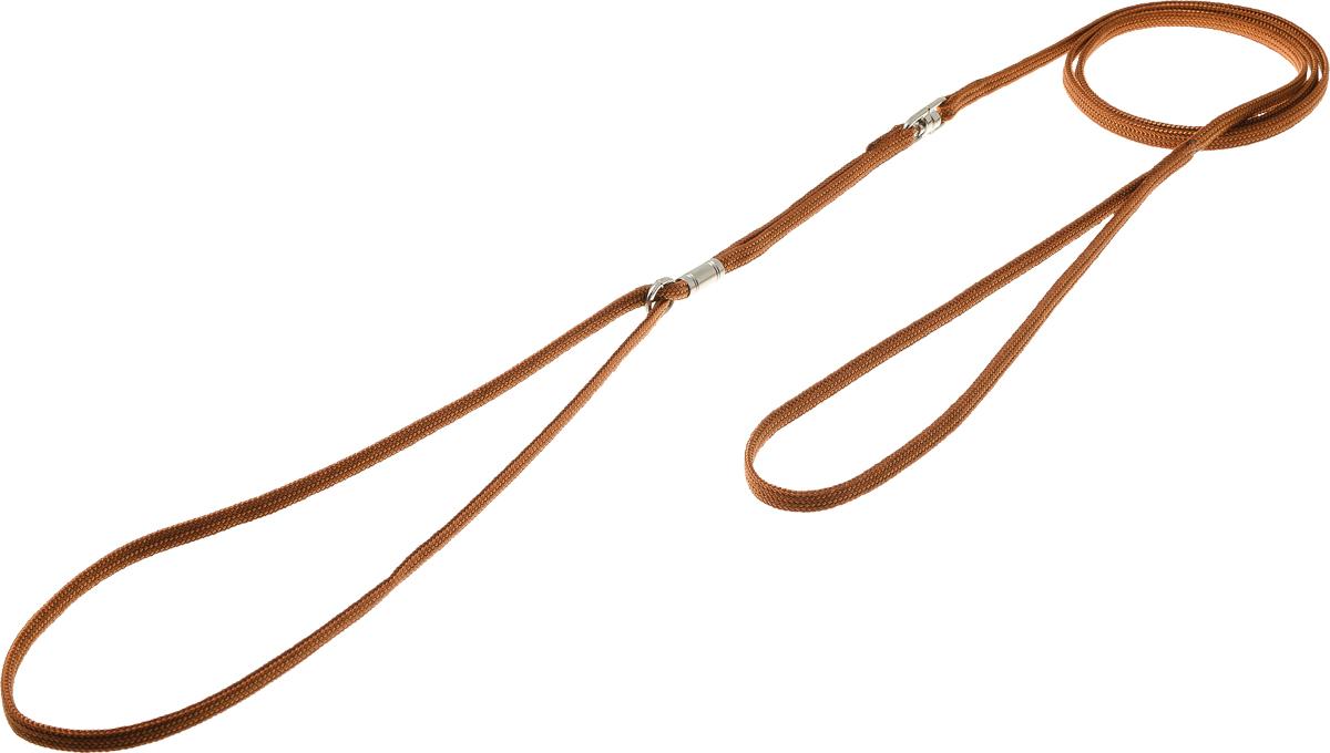 Ринговка V.I.Pet, с кольцом, цвет: светло-коричневый. PEA-05PEA-05LBRРинговка V.I.Pet - это специальный поводок, состоящий из петли с фиксатором и, собственно, поводка. Выполнена из нейлона, фурнитура - из высококачественной стали. Ринговка является самым распространенным видом амуниции для показа собаки на выставке или занятий рингдрессурой. Ринговку подбирают в тон окраса собаки, если собака пятнистая - то в тон преобладающего окраса или, наоборот, контрастную.