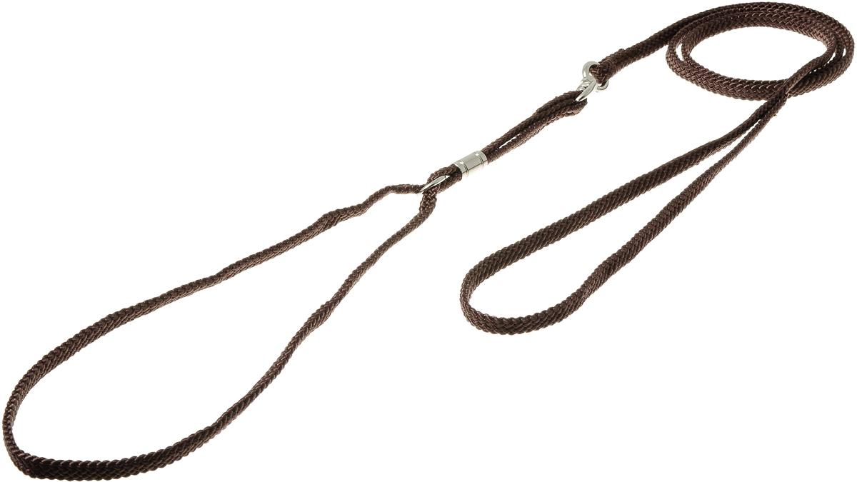 Ринговка V.I.Pet, с кольцом, цвет: коричневый. PEA-08PEA-08 BRРинговка V.I.Pet - это специальный поводок, состоящий из петли с фиксатором и, собственно, поводка. Выполнена из нейлона, фурнитура - из высококачественной стали. Ринговка является самым распространенным видом амуниции для показа собаки на выставке или занятий рингдрессурой. Ринговку подбирают в тон окраса собаки, если собака пятнистая - то в тон преобладающего окраса или, наоборот, контрастную.