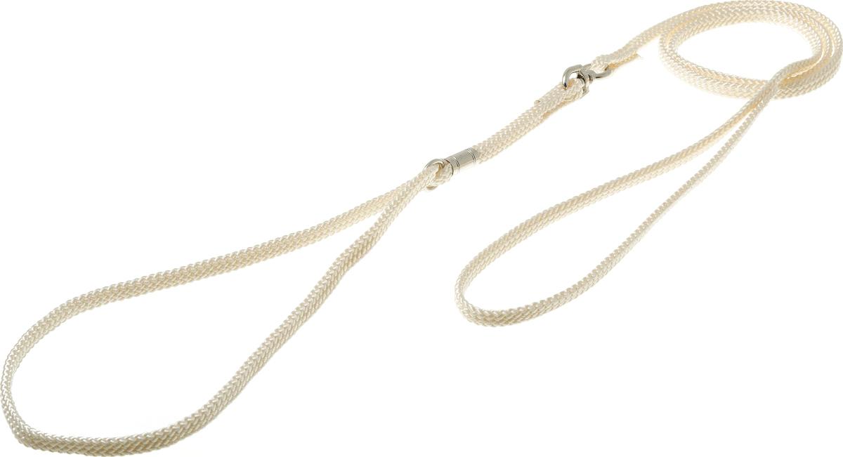 Ринговка V.I.Pet, с кольцом, цвет: слоновая кость. PEA-08PEA-08 IVРинговка V.I.Pet - это специальный поводок, состоящий из петли с фиксатором и, собственно, поводка. Выполнена из нейлона, фурнитура - из высококачественной стали. Ринговка является самым распространенным видом амуниции для показа собаки на выставке или занятий рингдрессурой. Ринговку подбирают в тон окраса собаки, если собака пятнистая - то в тон преобладающего окраса или, наоборот, контрастную.