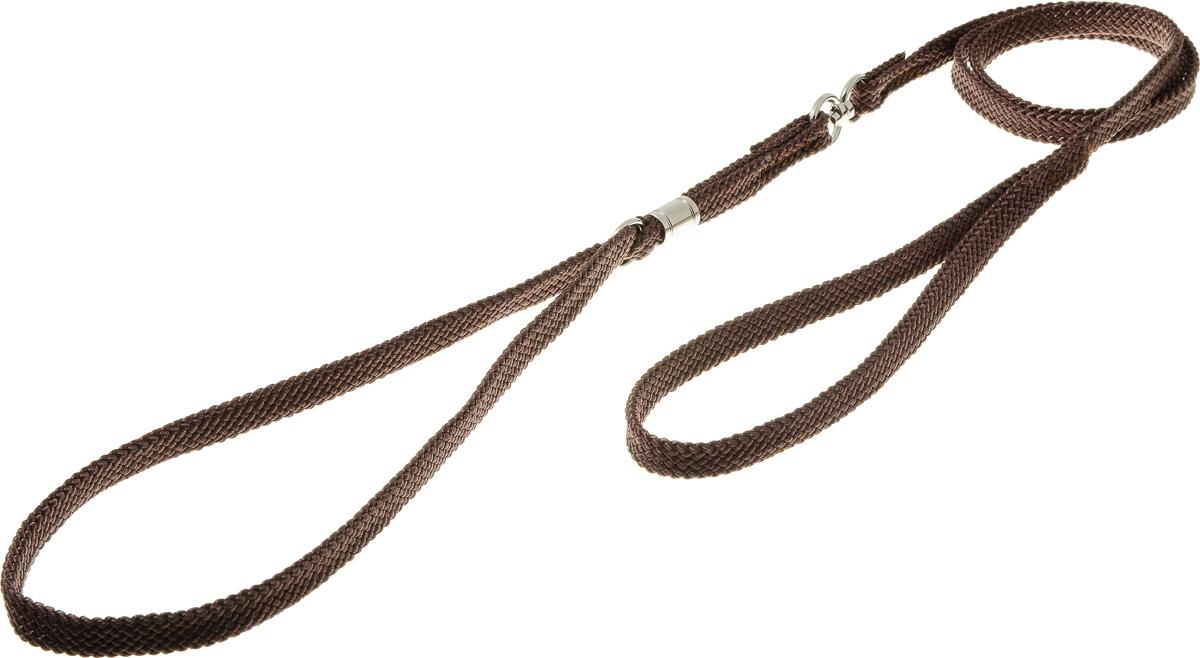 Ринговка V.I.Pet, с кольцом, цвет: коричневый. PEA-10PEA-10 BRРинговка V.I.Pet - это специальный поводок, состоящий из петли с фиксатором и, собственно, поводка. Выполнена из нейлона, фурнитура - из высококачественной стали. Ринговка является самым распространенным видом амуниции для показа собаки на выставке или занятий рингдрессурой. Ринговку подбирают в тон окраса собаки, если собака пятнистая - то в тон преобладающего окраса или, наоборот, контрастную.