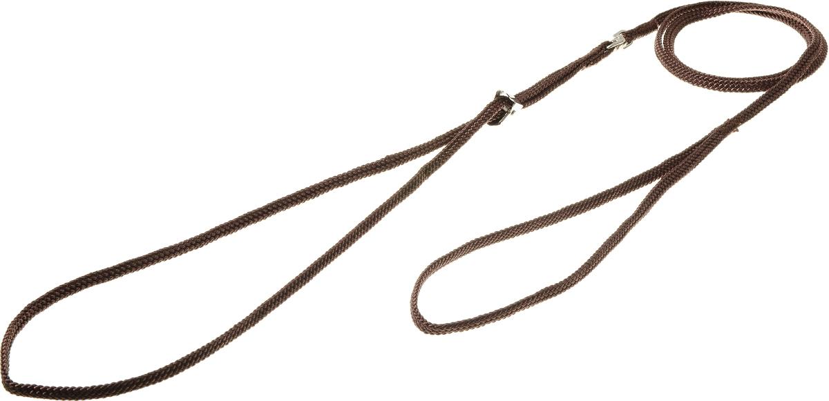 Ринговка V.I.Pet, с прищепкой, цвет: коричневый. PEQ-05PEQ-05 BRРинговка V.I.Pet - это специальный поводок, состоящий из петли с фиксатором и, собственно, поводка. Выполнена из нейлона, фурнитура - из высококачественной стали. Ринговка является самым распространенным видом амуниции для показа собаки на выставке или занятий рингдрессурой. Ринговку подбирают в тон окраса собаки, если собака пятнистая - то в тон преобладающего окраса или, наоборот, контрастную.