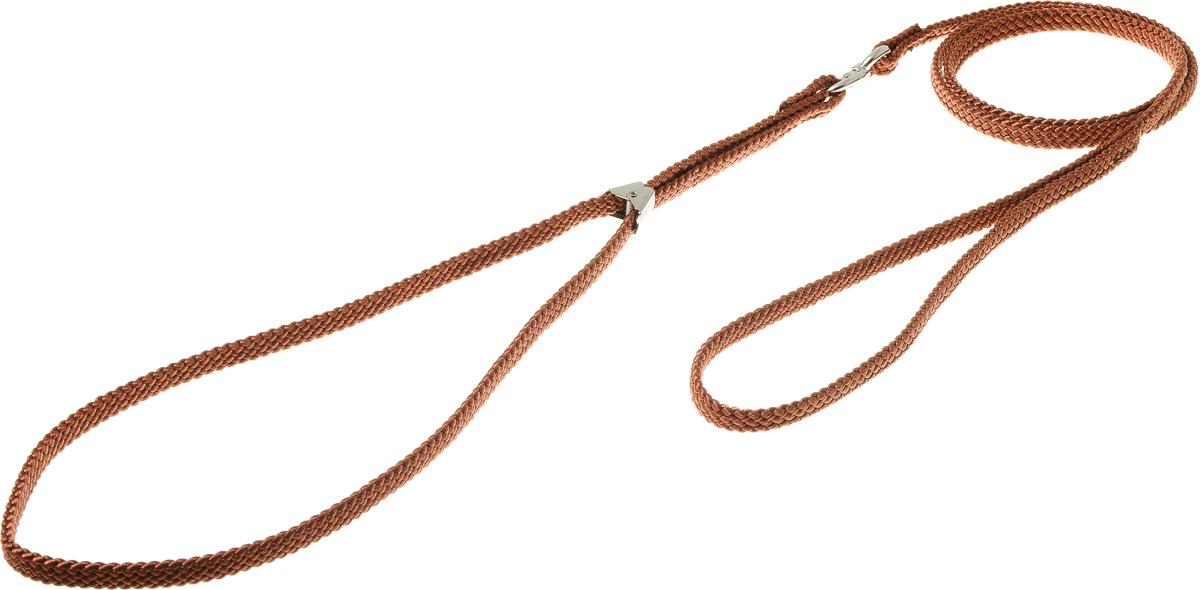 Ринговка V.I.Pet, с прищепкой, цвет: светло-коричневый. PEQ-08PEQ-08 LBRРинговка V.I.Pet - это специальный поводок, состоящий из петли с фиксатором и, собственно, поводка. Выполнена из нейлона, фурнитура - из высококачественной стали. Ринговка является самым распространенным видом амуниции для показа собаки на выставке или занятий рингдрессурой. Ринговку подбирают в тон окраса собаки, если собака пятнистая - то в тон преобладающего окраса или, наоборот, контрастную.