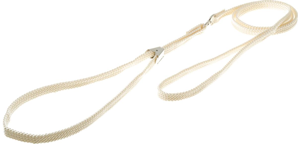 Ринговка V.I.Pet, с прищепкой, цвет: слоновая кость. PEQ-10PEQ-10 IVРинговка V.I.Pet - это специальный поводок, состоящий из петли с фиксатором и, собственно, поводка. Выполнена из нейлона, фурнитура - из высококачественной стали. Ринговка является самым распространенным видом амуниции для показа собаки на выставке или занятий рингдрессурой. Ринговку подбирают в тон окраса собаки, если собака пятнистая - то в тон преобладающего окраса или, наоборот, контрастную.
