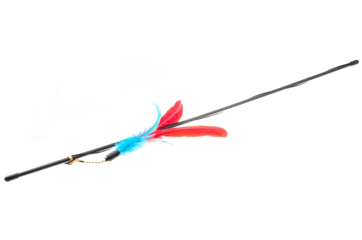 Дразнилка-удочка для кошек V.I.Pet Гусиное перо, цвет: красный, бирюзовый, черный, 72 смVG-501_красный, бирюзовый, черныйДразнилка-удочка V.I.Pet Гусиное перо доставит вашему питомцу массу удовольствия от игры с ней. Она представляет собой пластиковую палочку с веревкой, на которую прикреплены разноцветные перья. Дразнилка-удочка привлечет внимание кошек, которые любят общение, игры и охотиться. Игра с такой дразнилкой будет способствовать развитию и поддержанию мышц животного в тонусе. Длина палочки: 72 см.