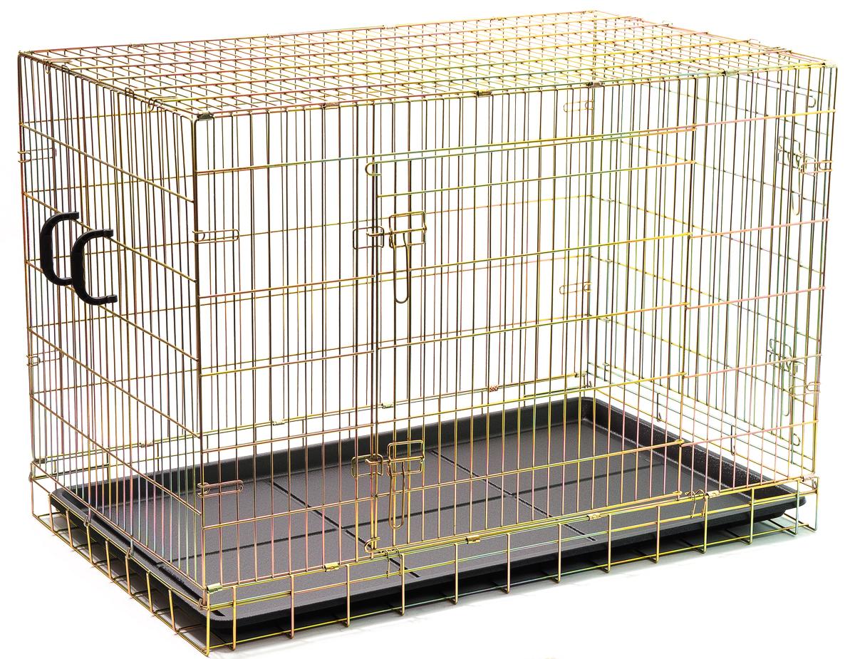 Клетка для собак V.I.Pet, с поддоном, 120 см х 75 см х 85 смZW15148Металлическая клетка для собак V.I.Pet отлично подойдет для перевозки вашего питомца в машине, а также для удобного размещения дома или на выставке. Клетка оборудована пластиковым поддоном и прорезиненными ножками, предотвращающими скольжение клетки по полу и защищающими пол от царапин. Изделие имеет одну боковую дверцу, которая фиксируется при помощи надежных замков. Клетка легко и просто собирается без инструментов.