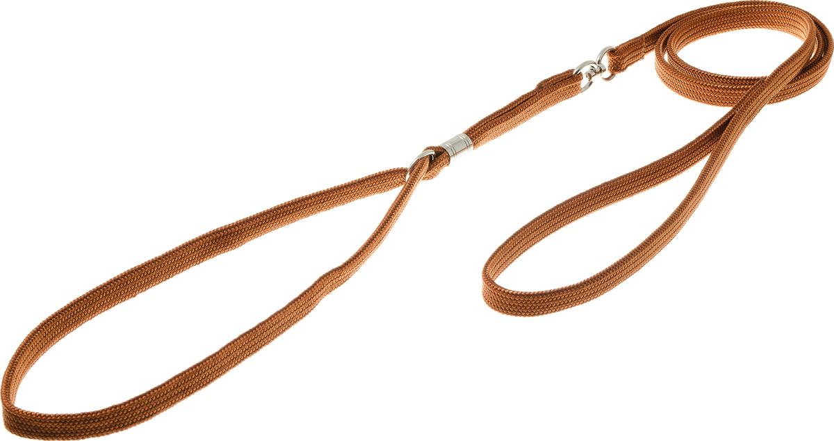 Ринговка V.I.Pet, с кольцом, цвет: светло-коричневый. PEA-10PEA-10 LBRРинговка V.I.Pet - это специальный поводок, состоящий из петли с фиксатором и, собственно, поводка. Выполнена из нейлона, фурнитура - из высококачественной стали. Ринговка является самым распространенным видом амуниции для показа собаки на выставке или занятий рингдрессурой. Ринговку подбирают в тон окраса собаки, если собака пятнистая - то в тон преобладающего окраса или, наоборот, контрастную.