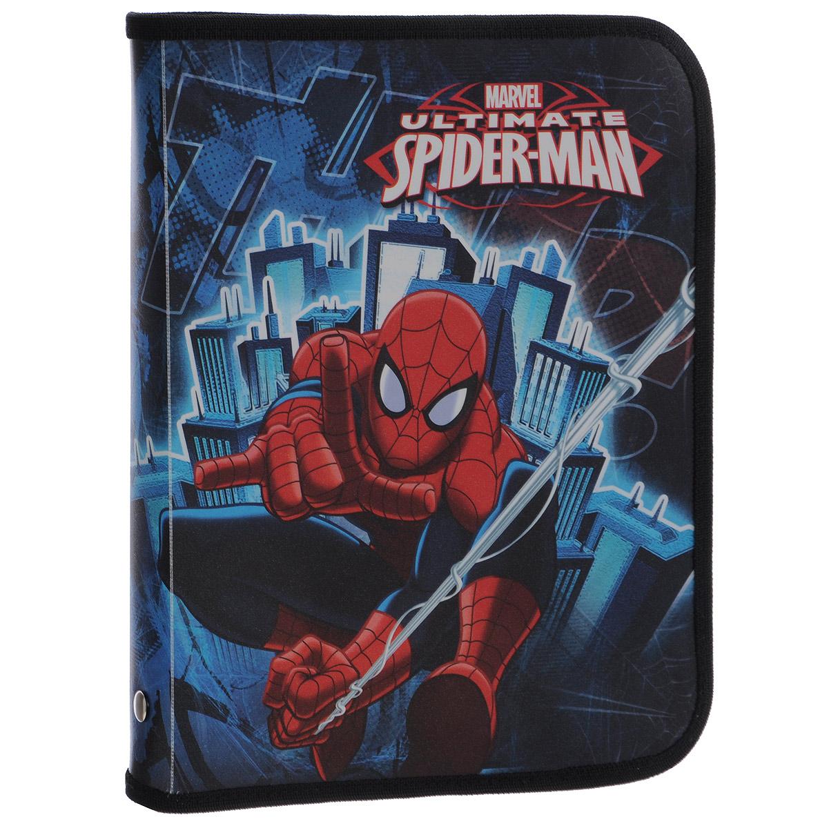 Папка для тетрадей Spider-man Classic, цвет: синий, красный. Формат А5SMCB-US1-CPBFLПапка для тетрадей Spider-man Classic- это удобный и функциональный инструмент. В папке одно вместительное отделение, которое идеально подойдет для хранения различных бумаг формата А5, а также школьных тетрадей и письменных принадлежностей. Папка оформлена красочными изображениями героев мультфильма Spider-man Classic. Папка изготовлена из прочного пластика. Края папки окантованы мягкой текстильной тесьмой. Надежная застежка-молния вокруг папки обеспечивает максимальный комфорт в использовании изделия, позволяя быстро открыть и закрыть папку. Папка практична в использовании и надежно сохранит ваши бумаги и сбережет их от повреждений, пыли и влаги.