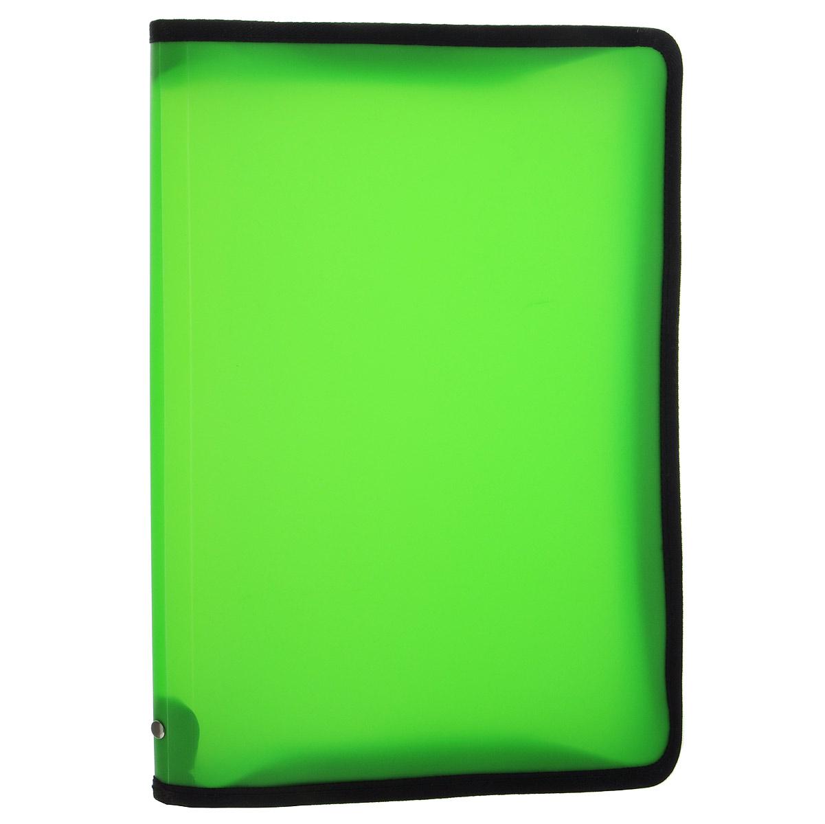 Папка Erich Krause, на молнии, цвет: зеленый. Формат А431012Папка Erich Krause - это удобный и функциональный офисный инструмент, предназначенный для хранения и транспортировки рабочих бумаг и документов формата А4, а также тетрадей и канцелярских принадлежностей. В папке одно вместительное отделение. Папка изготовлена из прочного высококачественного пластика, закрывается на круговую застежку-молнию. Папка состоит из одного отделения и имеет яркий неоновый зеленый цвет. Края папки отделаны полиэстером, а уголки имеют закругленную форму, что предотвращает их загибание и помогает надолго сохранить опрятный вид обложки. Папка - это незаменимый атрибут для любого студента, школьника или офисного работника. Такая папка надежно сохранит ваши бумаги и сбережет их от повреждений, пыли и влаги.
