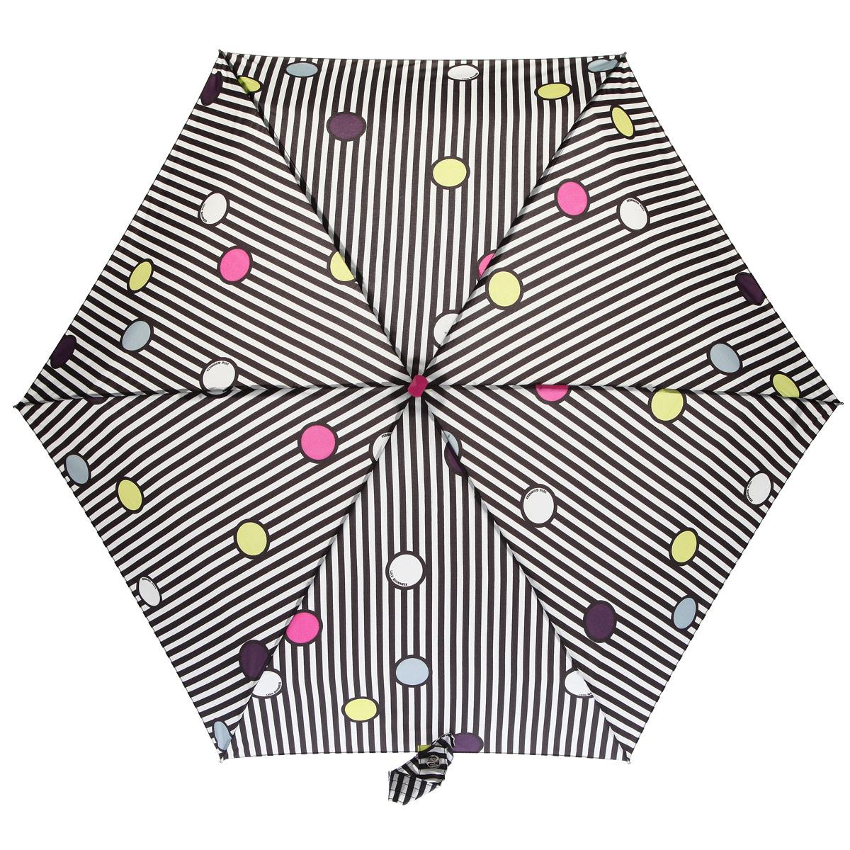 Зонт женский Fulton Lulu Guinness Tiny, механический, 5 сложений, цвет: черный, белый. L717-2782L717-2782Очаровательный механический зонт Lulu Guinness Tiny в 5 сложений изготовлен из высокопрочных материалов. Каркас зонта состоит из 6 спиц и прочного алюминиевого стержня. Купол зонта выполнен из прочного полиэстера с водоотталкивающей пропиткой и оформлен изображением в виде разноцветных горошков и полос. Рукоятка изготовлена из пластика. Зонт имеет механический механизм сложения: купол открывается и закрывается вручную до характерного щелчка. Небольшой шнурок, расположенный на рукоятке, позволяет надеть изделие на руку при необходимости. Модель закрывается при помощи хлястика на кнопку. К зонту прилагается чехол. Прелестный зонт не только выручит вас в ненастную погоду, но и станет стильным аксессуаром, прекрасно дополнит ваш модный образ. Необыкновенно компактный зонт с легкостью поместится в маленькую сумочку