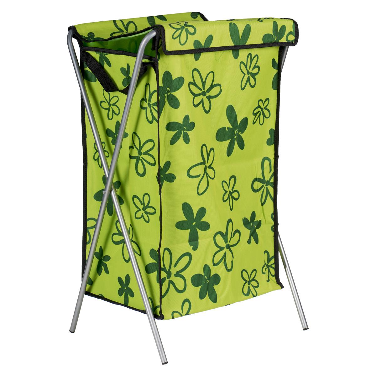 Корзина для белья Цветочки, цвет: зеленый, 40 х 40 х 65 см2000001057643_зеленыйКорзина для белья изготовлена из высококачественного цветного полиэстера, декорирована ярким красочным рисунком и предназначена для сбора и хранения вещей перед стиркой. Корзина имеет алюминиевый складывающийся каркас. Компактная и легкая, она не занимает много места, аккуратно хранит белье. Изделие оснащено крышкой из полиэстера. Такая корзина станет незаменимым аксессуаром ванной комнаты.
