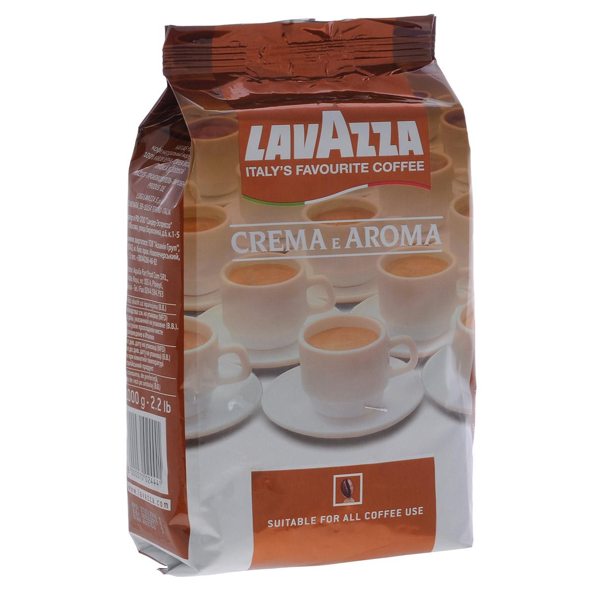 Lavazza Crema e Aroma кофе в зернах, 1 кг2444Интенсивный и насыщенный вкус характеризует кофе Lavazza Crema e Aroma в зернах, представляющий собой идеальный баланс тщательно отобранных бобов. Медленная, длительная обжарка смеси Lavazza Crema e Aroma, состоящая на 80% арабики и 20 % робусты, раскрывает полноту тела и насыщенный аромат. При приготовлении этого кофе в зернах вы увидите плотную пенку, ощутите приятный вкус и аромат который может дать только кофе Lavazza!