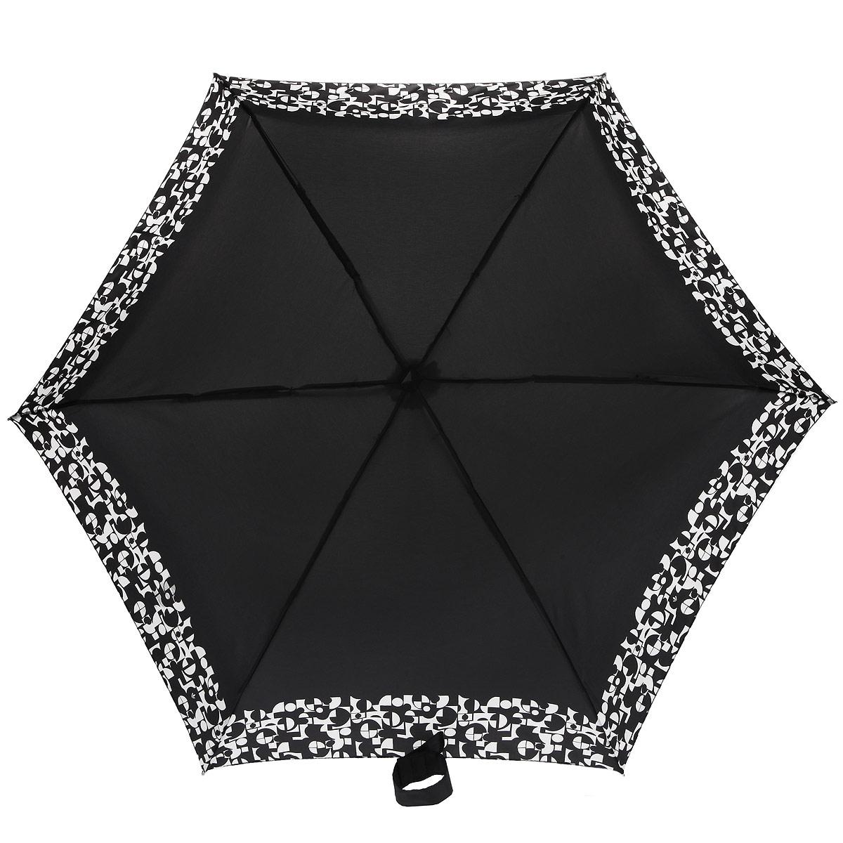 Зонт женский Fulton Tiny-2. Monochrome Mosaic, механический, 5 сложений, цвет: черный, белый. L501-2925L501-2925Очаровательный механический зонт Tiny-2. Monochrome Mosaic в 5 сложений изготовлен из высокопрочных материалов. Каркас зонта состоит из 6 спиц и прочного алюминиевого стержня. Купол зонта выполнен из прочного полиэстера с водоотталкивающей пропиткой и оформлен оригинальным принтом. Рукоятка изготовлена из пластика. Зонт имеет механический механизм сложения: купол открывается и закрывается вручную до характерного щелчка. Небольшой шнурок, расположенный на рукоятке, позволяет надеть изделие на руку при необходимости. Модель закрывается при помощи хлястика на застежку-липучку. К зонту прилагается чехол. Прелестный зонт не только выручит вас в ненастную погоду, но и станет стильным аксессуаром, прекрасно дополнит ваш модный образ. Необыкновенно компактный зонт с легкостью поместится в маленькую сумочку.