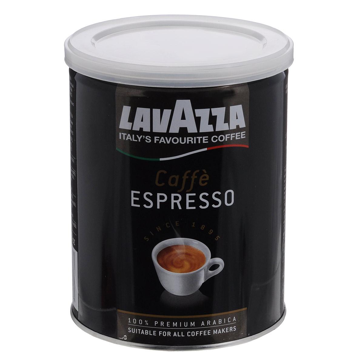 Lavazza Caffe Espresso кофе молотый, 250 г (ж/б)1887Молотый кофе средней обжарки Lavazza Caffe Espresso - смесь арабики Центральной Америки и Африки - обладает крепким,насыщенным вкусом и приятным ароматом. Отлично подходит для варки в турке и приготовления в кофемашине.