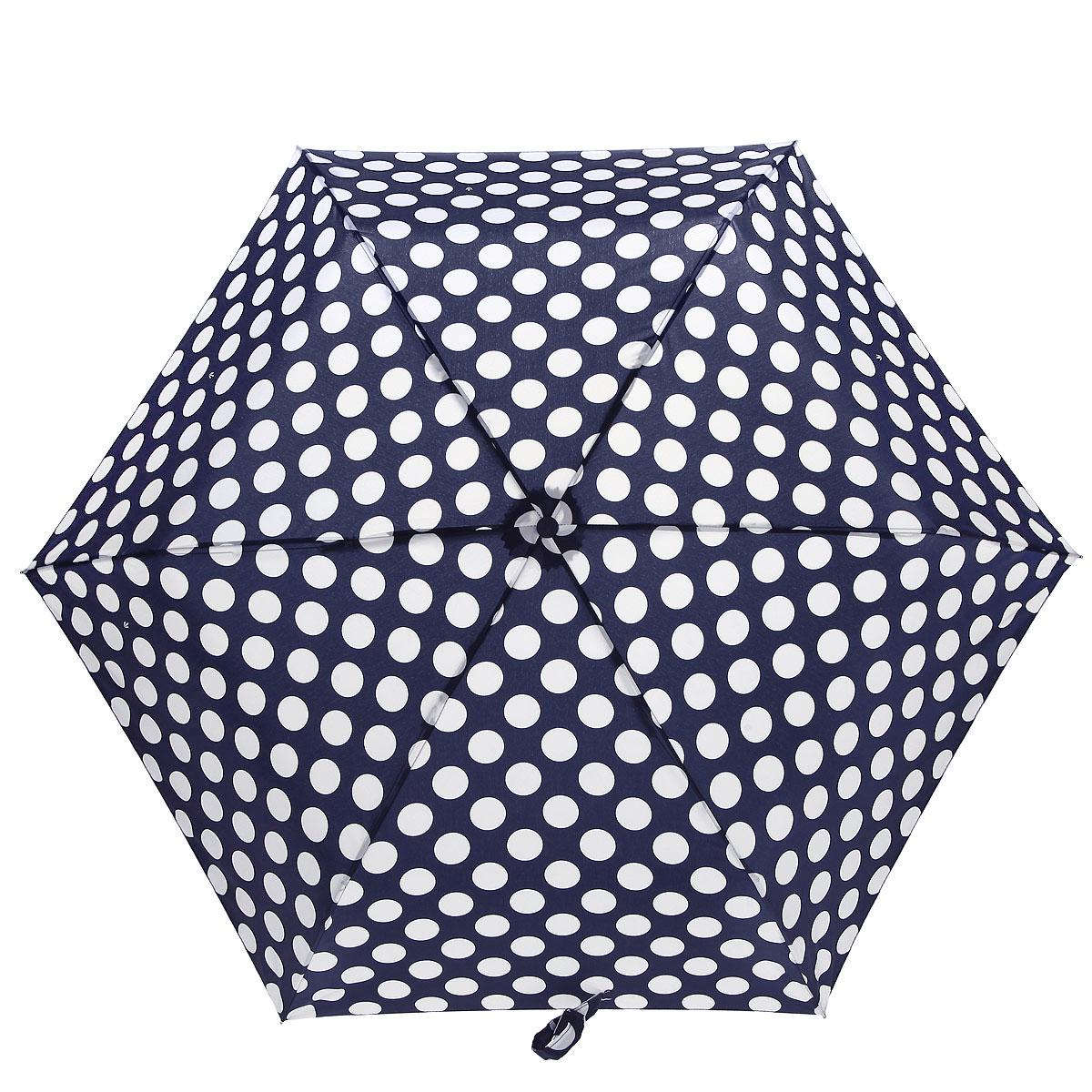 Зонт женский Fulton Superslim-2 Round. Perfect Circle, механический, 2 сложения, цвет: синий, белый. L553-2929L553-2929Стильный супер компактный зонт Fulton Superslim-2 Round. Perfect Circle. Каркас зонтика состоит из шести алюминиевых спиц с элементами из фибергласса, стержень состоит из стали. Зонт оснащен удобной рукояткой из прорезиненного пластика. Купол зонта выполнен из прочного полиэстера и оформлен изображением кругов. На рукоятке для удобства есть небольшой шнурок, позволяющий надеть зонт на руку тогда, когда это будет необходимо. К зонту прилагается чехол на липучке. Зонт механического сложения: купол открывается и закрывается вручную до характерного щелчка. . Такой зонт даже в ненастную погоду позволит вам оставаться женственной и элегантной.