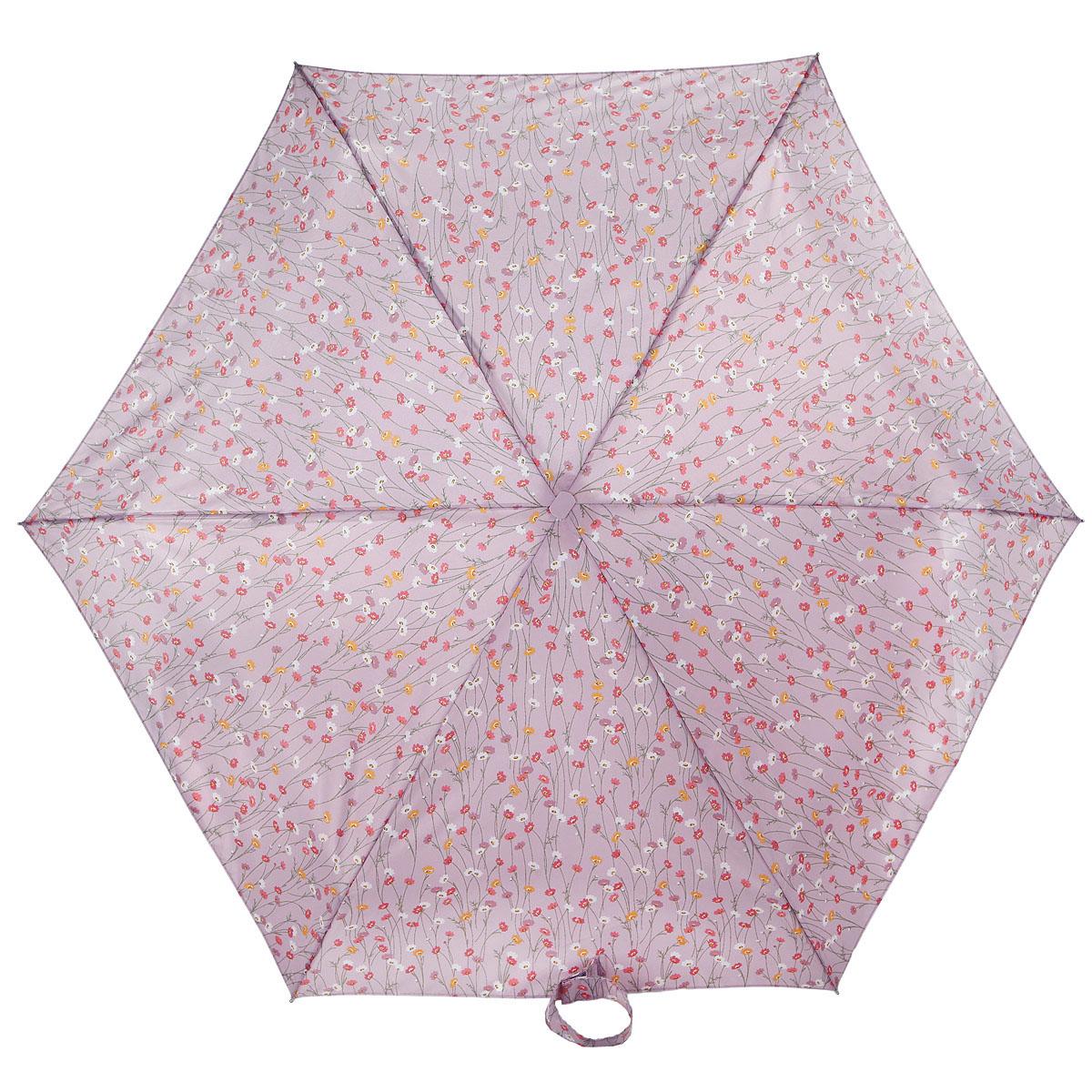 Зонт женский Fulton Tiny-2. Spring Fair, механический, 5 сложений, цвет: сиреневый. L501-2924L501-2924Очаровательный механический зонт Tiny-2. Spring Fair в 5 сложений изготовлен из высокопрочных материалов. Каркас зонта состоит из 6 спиц и прочного алюминиевого стержня. Купол зонта выполнен из прочного полиэстера с водоотталкивающей пропиткой и оформлен рисунком в виде цветов. Рукоятка изготовлена из пластика. Зонт имеет механический механизм сложения: купол открывается и закрывается вручную до характерного щелчка. Небольшой шнурок, расположенный на рукоятке, позволяет надеть изделие на руку при необходимости. Модель закрывается при помощи хлястика на застежку-липучку. К зонту прилагается чехол. Прелестный зонт не только выручит вас в ненастную погоду, но и станет стильным аксессуаром, прекрасно дополнит ваш модный образ. Необыкновенно компактный зонт с легкостью поместится в маленькую сумочку