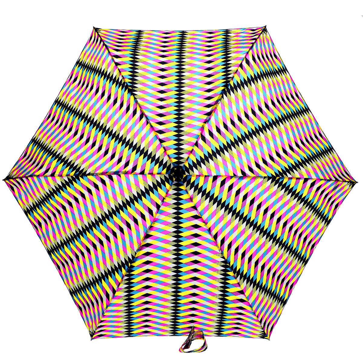 Зонт женский Fulton Lulu Guinness Tiny. Multi Milan, механический, 5 сложений, цвет: розовый, желтый, черный. L717-2957L717-2957Очаровательный механический зонт Lulu Guinness Tiny. Multi Milan в 5 сложений изготовлен из высокопрочных материалов. Каркас зонта состоит из 6 спиц и прочного алюминиевого стержня. Купол зонта выполнен из прочного полиэстера с водоотталкивающей пропиткой и оформлен оригинальным принтом. Рукоятка изготовлена из пластика. Зонт имеет механический механизм сложения: купол открывается и закрывается вручную до характерного щелчка. Небольшой шнурок, расположенный на рукоятке, позволяет надеть изделие на руку при необходимости. Модель закрывается при помощи хлястика на кнопку. К зонту прилагается чехол. Прелестный зонт не только выручит вас в ненастную погоду, но и станет стильным аксессуаром, прекрасно дополнит ваш модный образ. Необыкновенно компактный зонт с легкостью поместится в маленькую сумочку.