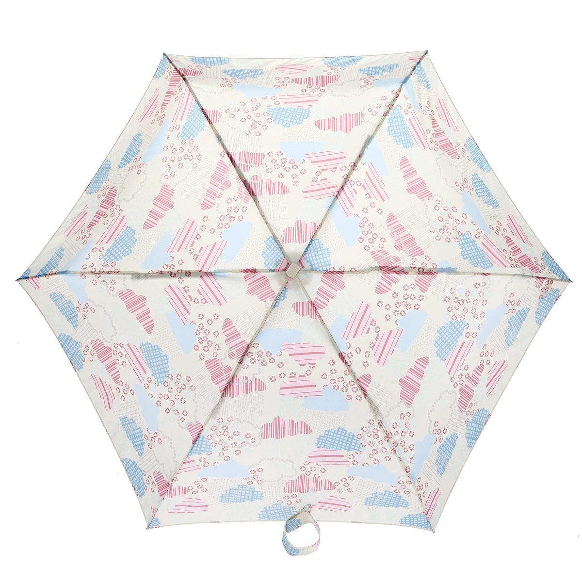 Зонт женский Fulton Tiny-2. Clouds, механический, 5 сложений, цвет: мультицвет. L501-2926L501-2926Очаровательный механический зонт Tiny-2. Clouds в 5 сложений изготовлен из высокопрочных материалов. Каркас зонта состоит из 6 спиц и прочного алюминиевого стержня. Купол зонта выполнен из прочного полиэстера с водоотталкивающей пропиткой и оформлен оригинальным принтом. Рукоятка изготовлена из пластика. Зонт имеет механический механизм сложения: купол открывается и закрывается вручную до характерного щелчка. Небольшой шнурок, расположенный на рукоятке, позволяет надеть изделие на руку при необходимости. Модель закрывается при помощи хлястика на застежку-липучку. К зонту прилагается чехол. Прелестный зонт не только выручит вас в ненастную погоду, но и станет стильным аксессуаром, прекрасно дополнит ваш модный образ. Необыкновенно компактный зонт с легкостью поместится в маленькую сумочку.