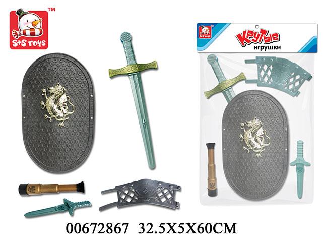 Набор Рыцаря со щитом672867/916-8Набор рыцаря со щитом S+S Toys 916-8 изготовлен из безопасно материала и понравится любому мальчику. Он сможет устраивать игрушечные сражения, придумывать разные игровые ситуации и весело проводить время. Набор развивает фантазию, ловкость и мелкую моторику рук.