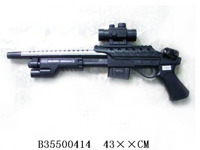 Ружье пневматическое, с оптическим прицеломTS61Каждый мальчик мечтает о настоящем оружии. С новым ружьем пневматическим с оптическим прицелом у него появится такая возможность. Ружье четко стилизовано под настоящее оружие, с проработанными деталями.
