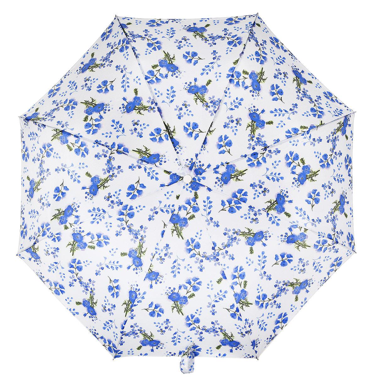 """Зонт женский Fulton """"Minilite-2. Poppy Bloom"""", механический , 3 сложения, цвет: голубой, белый, зеленый. L354-2938"""
