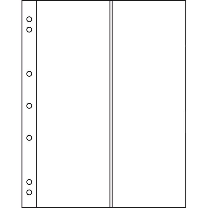 Лист в альбом Numis NH 2VC на 2 ячейки. Leuchtturm. 312944 (10 листов в упаковке)312944Характеристики: Размер листа: 19,3 см х 21,7 см Размер ячейки: 8 см x 21,6 см Количество листов в упаковке: 10