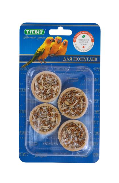 Лакомство для попугаев Titbit, тарталетки с яблоком и злаками, 4 шт1094Тарталетки представляют собой корзиночки из хрустящего пресного теста с лакомой и полезной для птиц начинкой. Обогащают ежедневный рацион витаминами, макро – и микроэлементами. Продукт не содержит искусственных красителей и ароматизаторов. Входящие в состав продукта яблоки гармонично сочетают наиболее важные для здоровья птицы вещества, включая витамины, минералы, фруктовые кислоты, сахара и клетчатку. Яблоки положительно влияют на иммунную систему птиц. Состав: Мука 1 сорта, яблоко, кунжут, конопляное семя, овес, просо. Полезные вещества: сбалансированный витаминно-минеральный комплекс.