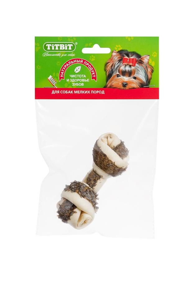 Лакомство для собак Titbit, кость узловая, с рубцом говяжьим1639Высушенная говяжья кожа, свернутая в форме кости размером 110-130 мм, обогащенная прослойкой из высушенного говяжьего рубца, ворсинки которого содержат полезные ферменты и витамины груполипропиленовый пакеты В. Благодаря большому содержанию аминокислот и коллагена положительно воздействует на состояние кожи и шерсти собаки, а также обеспечивает поступление в организм незаменимых компонентов для роста и поддержания качества хрящевой ткани суставов собак. Способствует укреплению дёсен, удалению зубного налёта и профилактике образования зубного камня. Вкус: кожа говяжья Состав: Высушенные говяжья кожа и рубец. Условия хранения: хранить в сухом прохладном месте. Товар сертифицирован.
