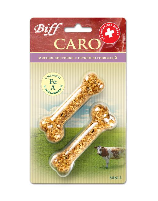 Лакомство для собак Biff Caro мясная косточка с говяжьей печенью, 2 шт1711Мясная косточка с печенью говяжьей дополнит рацион Вашего питомца витаминами, минеральными веществами, незаменимыми аминокислотами, жирорастворимыми соединениями. Железо и витамин А, входящие в состав косточки, способствуют профилактике анемии. Печень говяжья – источник витаминов (А, В1, В2, В5, В12) и кроветворных элементов (железа, меди, кобальта). Железо – основной микроэлемент, необходимый для синтеза гемоглобина крови, его недостаток ведёт к анемии. Витамин А улучшает поглощение железа из продуктов питания за счёт формирования с ним растворимых комплексов. Вкус: говядина. Состав: Кожа говяжья – 35%, кукуруза – 16%, печень говяжья – 15%, желудок говяжий – 11%, овёс – 10%, мясокостная мука - 7%, кишки говяжьи – 6%. Условия хранения: хранить в сухом прохладном месте. Товар сертифицирован.