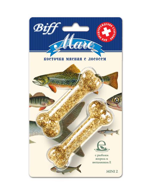 Лакомство для собак Biff Mare, мясная косточка с лососем, 2 шт1919Мясная косточка на основе лосося - идеальное лакомство для собак, которое способствует нормальному состоянию клеток кожного покрова и слизистых оболочек, регулирует рост костей, обмен кальция и фосфора, предупреждает старение. Активные компоненты рыбьего жира, такие, как витамин Е, являются мощными антиоксидантами. Они снижают активность свободных радикалов, что обеспечивает замедление процессов старения, обезвреживание продуктов внутриклеточного распада, поддержание тонуса сердца и эластичности стенок сосудов. Вкус: лосось Состав: Кожа говяжья – 27%, рыба (лосось) – 20%, кукуруза – 16%, рис – 9%, желудок говяжий -8%, мясокостная мука- 7%, петрушка – 5%, кишки говяжьи – 4%, морковь – 4%. Условия хранения: хранить в сухом прохладном месте. Товар сертифицирован.