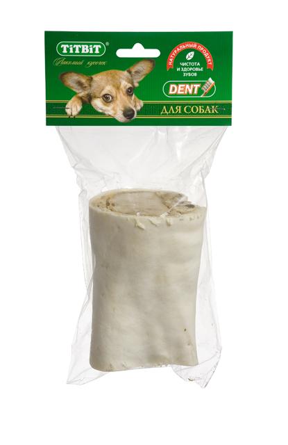 Лакомство для собак Titbit, голень говяжья, малая2195Лакомство для собак Titbit представляет собой часть высушенной говяжьей голени. Содержит кожу, костную ткань, жир, соединительную ткань и небольшие прослойки мышечной ткани. Обеспечивают дополнительное поступление в организм глюкозамина и хондроитина - составных элементов для роста, развития и поддержания в норме суставов собак. Массирует десны и укрепляет жевательную мускулатуру, очищает зубной налет и предотвращает возникновение зубного камня. Прекрасная игрушка, сохраняющая в целости предметы интерьера и личные вещи. Изделие содержит трубчатую кость и не предназначено для полного поедания. Как только собака съела футляр из кожи, сухожилий и мышц - необходимо заменить лакомство на новое. Состав: высушенная говяжья голень. Товар сертифицирован.