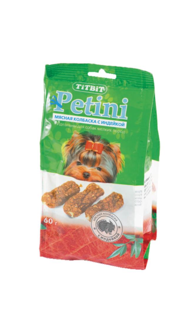 Лакомство для собак Titbit Petini, колбаски, с индейкой, 60 г2629Titbit Petini - вкусное и полезное лакомство для собак. Мясо индейки во многом схоже с куриным. Пуриновых оснований в нем почти в два раза больше, нежели в курятине. Индейка содержит много витаминов группы  В и фосфора. Не вызывает пищевой аллергии и подходит собакам с чувствительной системой пищеварения. Состав: мясо индейки и мясные субпродукты (не менее 92%), кукуруза, минеральные вещества. Товар сертифицирован.
