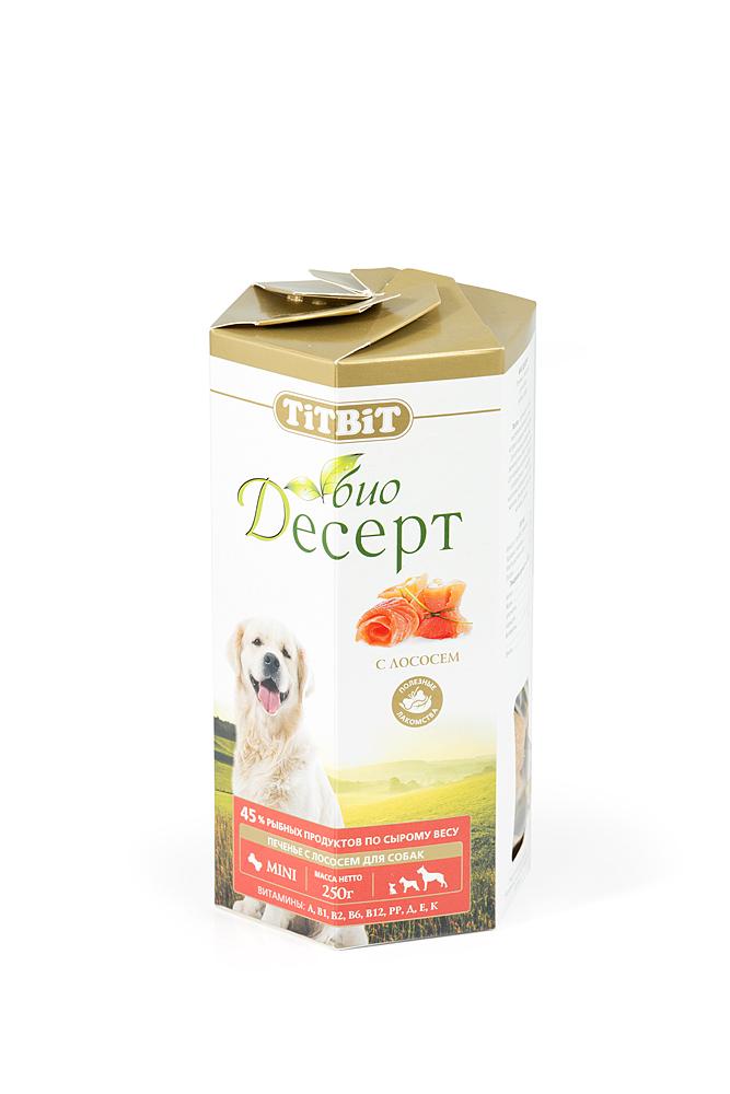 Лакомство для собак Titbit Био Десерт, печенье с лососем2978Лосось является ценным источником высококачественного белка, который содержит необходимые для организма незаменимые аминокислоты. В мире не так много продуктов, богатых полезными для нормальной работы сердца и сосудов Омега-3 - жирными кислотами. В лососе же они содержатся в избытке, также как и витамины A, B, D, E, железо, фосфор, кальций, магний, цинк, селен. Состав: Мука в/с грубого помола 57%, пшеничный зародыш 23%, растительное масло 10%, лосось 10%.