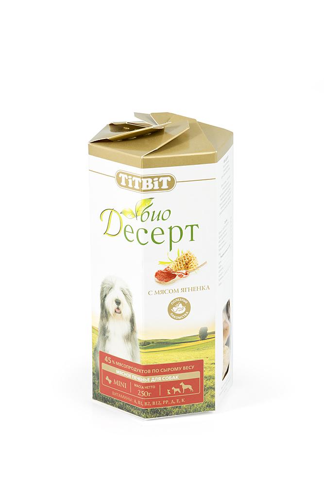Лакомство для собак Titbit Био Десерт, печенье с мясом ягненка, 250 г2985Лакомство для собак Titbit Био Десерт изготовлено по новой технологии производства и имеет специально подобранный состав для поддержания нормального функционирования желудочно-кишечного тракта, иммунной системы, а также для стимулирования естественной регенерации здоровых клеток. Не содержит искусственных красителей и ароматизаторов. Уникальная структура лакомства способствует укреплению десен и снижает риск образования зубного камня. Мясо ягненка - это источник гипоаллергеного, высококачественного протеина животного происхождения, который легко усваивается и необходим при заживлении ран и переломах костей. Аромат баранины очень нравится собакам, поэтому лакомство удобно применять для дрессуры. Вещества, такие как цинк, витамин В12 и железо (2,6 мг/100г), благотворно влияют на умственную деятельность животного. В мясе ягненка содержатся так же витамин РР(5,4 мг/100г), который участвует в усвоении белков, жиров и углеводов, поступающих извне. Характеристики: Состав: мука...