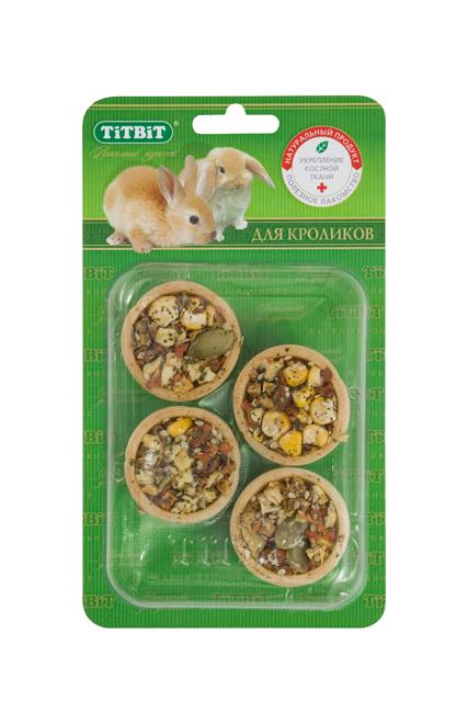 """Лакомтсво для кроликов """"Titbit"""", тарталетки с морковью и тыквой, 4 шт 585"""