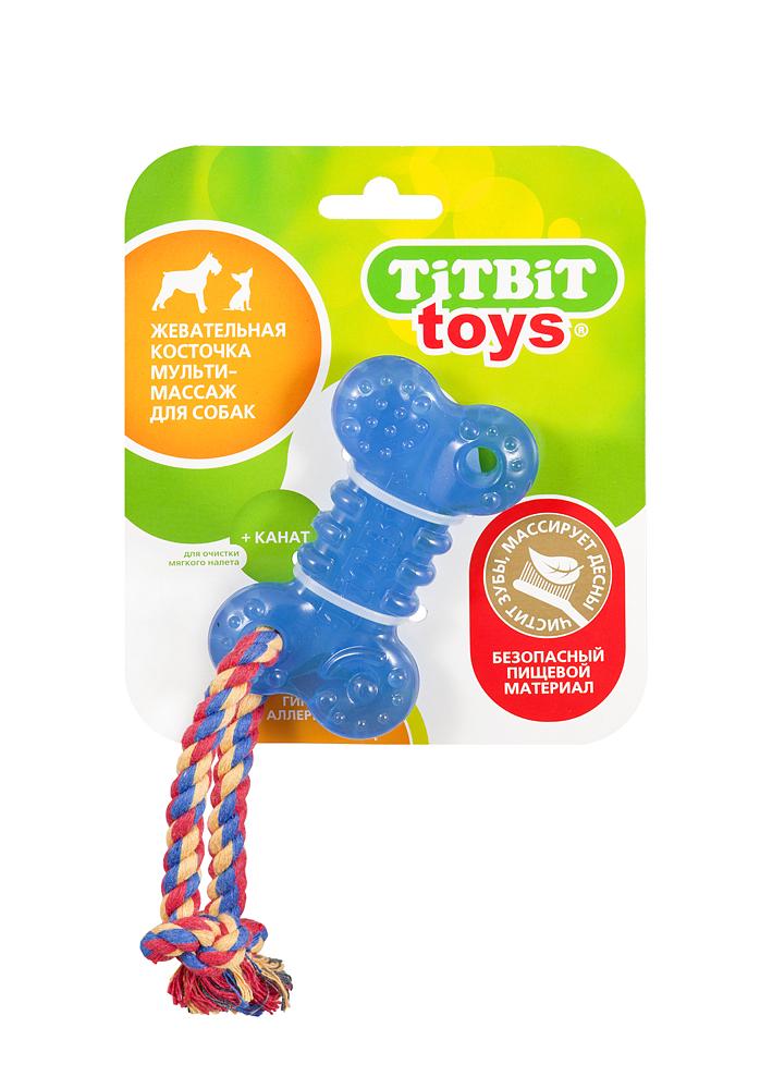 """Titbit Игрушка жевательная для собак """"Косточка"""" + канат, длина 10 см 748"""