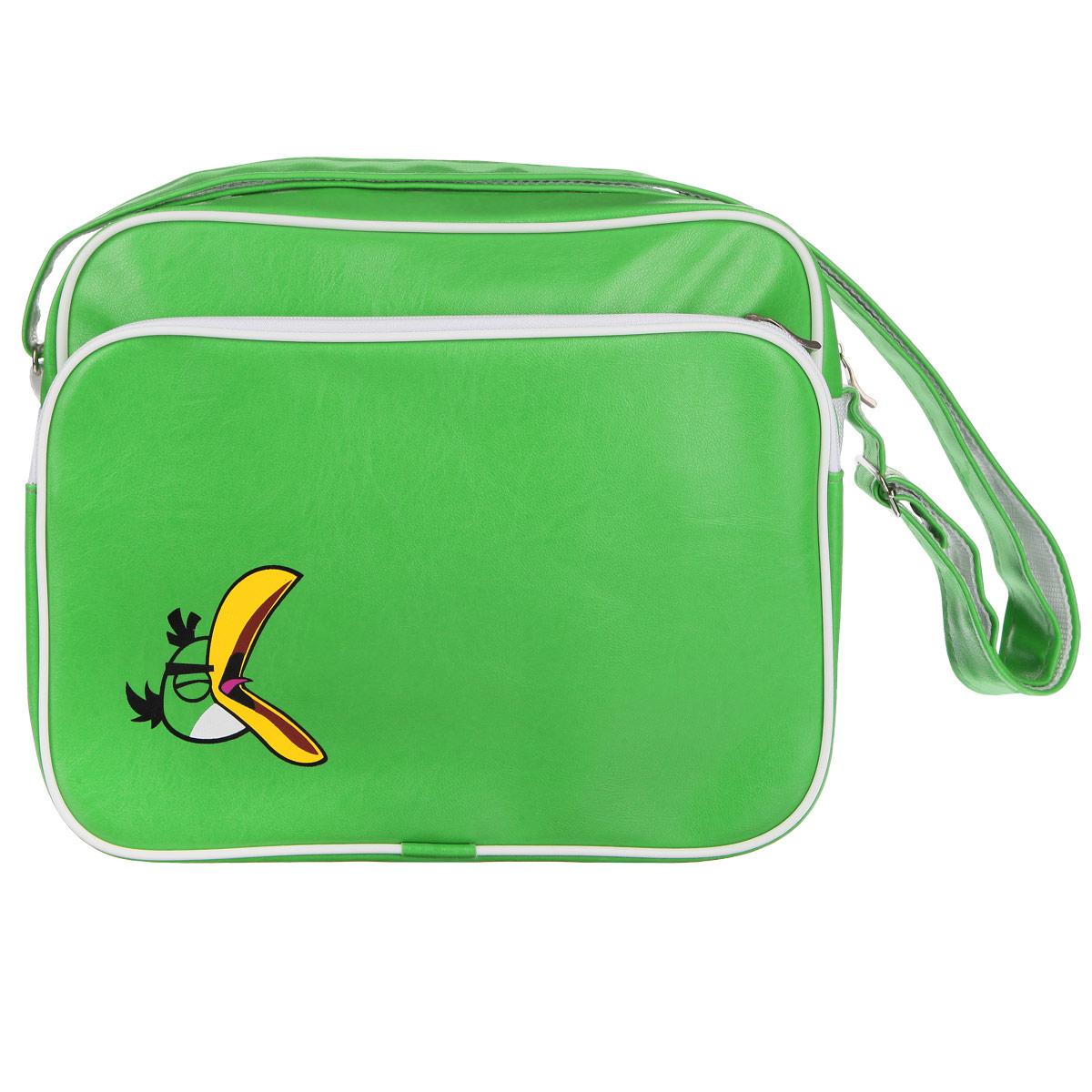 Сумка Angry Birds Зеленая птица, цвет: зеленый. 8481484814Молодежная сумка Angry Birds Зеленая птица сочетает в себе современный дизайн, функциональность и долговечность. Она выполнена из искусственной кожи и оформлена изображением одного из героев знаменитой игры Angry Birds - зеленой птицы. Сумка имеет одно вместительное отделение, разделенное пополам карманом-средником на молнии. Закрывается сумка на застежку-молнию. С внешней стороны расположен вместительный накладной карман на молнии, внутри которого - накладной карман и четыре держателя для авторучек. С задней стороны сумки находится вшитый карман на молнии. Сумка оснащена плечевым ремнем регулируемой длины, максимальная длина - 128 см, минимальная - 48 см. С внешней стороны ремень изготовлен из искусственной кожи, с внутренней - из плотного полиэстера.