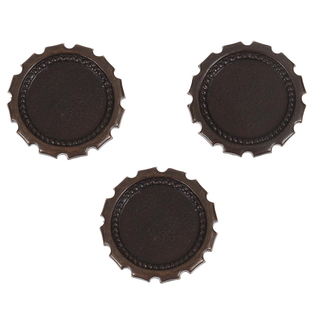 Декоративный элемент Vintaj Пробка, диаметр 22 мм, 3 штHW0030RRНабор декоративных элементов Vintaj Пробка изготовлен из металла и предназначен для декорирования в различных техниках. С его помощью вы сможете украсить альбом, одежду, подарок и другие предметы ручной работы. Декоративные элементы выполнены в виде плоских пробок с резными краями и имеют оригинальный дизайн. Они помогут красиво оформить вашу работу и добавят вдохновения для новых идей. Диаметр элемента: 22 мм.
