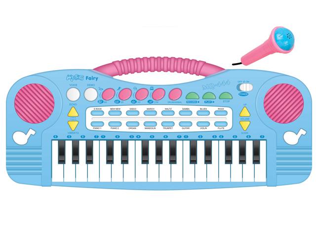Пианино с микрофономMQ-444У многих исключительный музыкальный слух с самого раннего детства. Чтобы талант не пропал зря, нужно его развивать. Поэтому стоит приобрести небольшое пианино и занимать ребенка музыкальными играми. Дети смогут учиться в легкой игровой форме, а родителей порадует творческая адаптация их малыша. Пианино работает с помощью четырех батареек вида АА 1,5V, которые не входят в комплект. В набор входит микрофон. Размер коробки: 34,7*16*3,5 см, вес: 422 г. Особенности: 8 тонов 22 демо мелодии 4 звучания голосов животных передача звуковых эффектов функция воспроизведения.