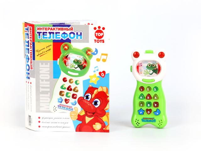 Телефон интерактивный, со светом и звуком894606RИгрушечный телефон интерактивный с кнопочками, нажимая на которые ребенок может учиться и играть. У телефона игрушечного есть дисплей. Телефон интерактивный со световыми и звуковыми эффектами.