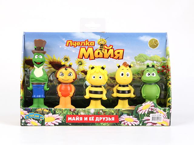 Пластизоль Пчелка Майя и ее друзьяGT7169В набор входит 5 фигурок персонажей мультфильма Приключения пчёлки Майи: Майя, её друг трутень Вилли, кузнечик Флип,божья коровка,зелёный жук-навозник Бен. Высота фигурок - около 14 и 9 см. Выглядят все фигурки точно как персонажи мультфильма, не возникает вопросов, кто есть кто. Замечательная компания насекомых из любимого мультика, отличного качества. Игрушки яркие и очень симпатичные выполнены из высококачественного пластизоля.