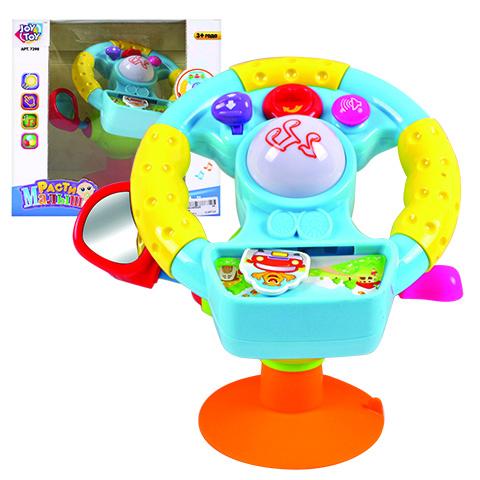 Joy Toy Руль Веселый шофер со светом и звукомB655-H05020Руль Joy Toy Веселый шофер выполнен в виде приборной панели с рулем и рычагами на присоске. Его можно закрепить на автомобильном кресле, коляске просто сидении, чтобы ребенок участвовал в вождении наравне со взрослыми. Игрушка отлично развивает координацию движений, а также визуальное восприятие и слух малыша. Большая кнопка по центру игрушки проигрывает веселые мелодии, а нажимая на клавишу подачи сигнала ребенок сможет услышать гудок и другие реалистичные автомобильные звуки. Яркий ключ зажигания включает виртуальный мотор. Предусмотрен рычаг для переключения передач, а также включения поворота и боковое зеркало.
