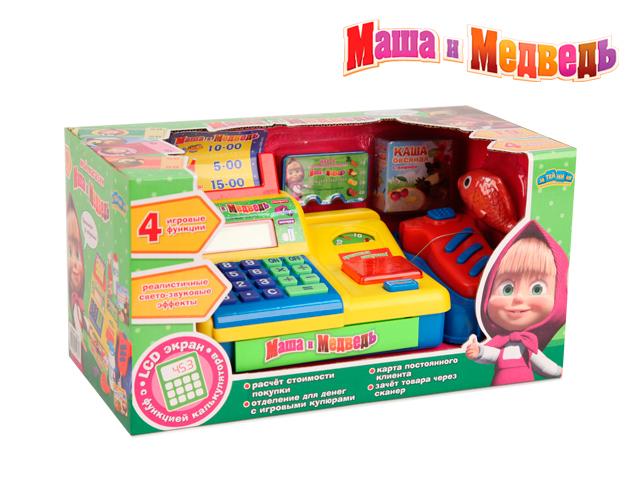Касса Маша и Медведь с аксессуарами, калькулятором, со светом и звукомEJ46207В игровом наборе: электронный кассовый аппарат (работает как калькулятор), при нажатии на кнопку CASH со звуком открывается денежный ящик, зачёт товара через сканер (пищит при нажатии на кнопку),набор потребителя (молоко,кетчуп,вода,рыба),механические весы для продуктов,отделение для денег с игровыми купюрами. 4 игровые функции,8 предметов. Работает от 3-х ААА батареек (в комплект не входят).