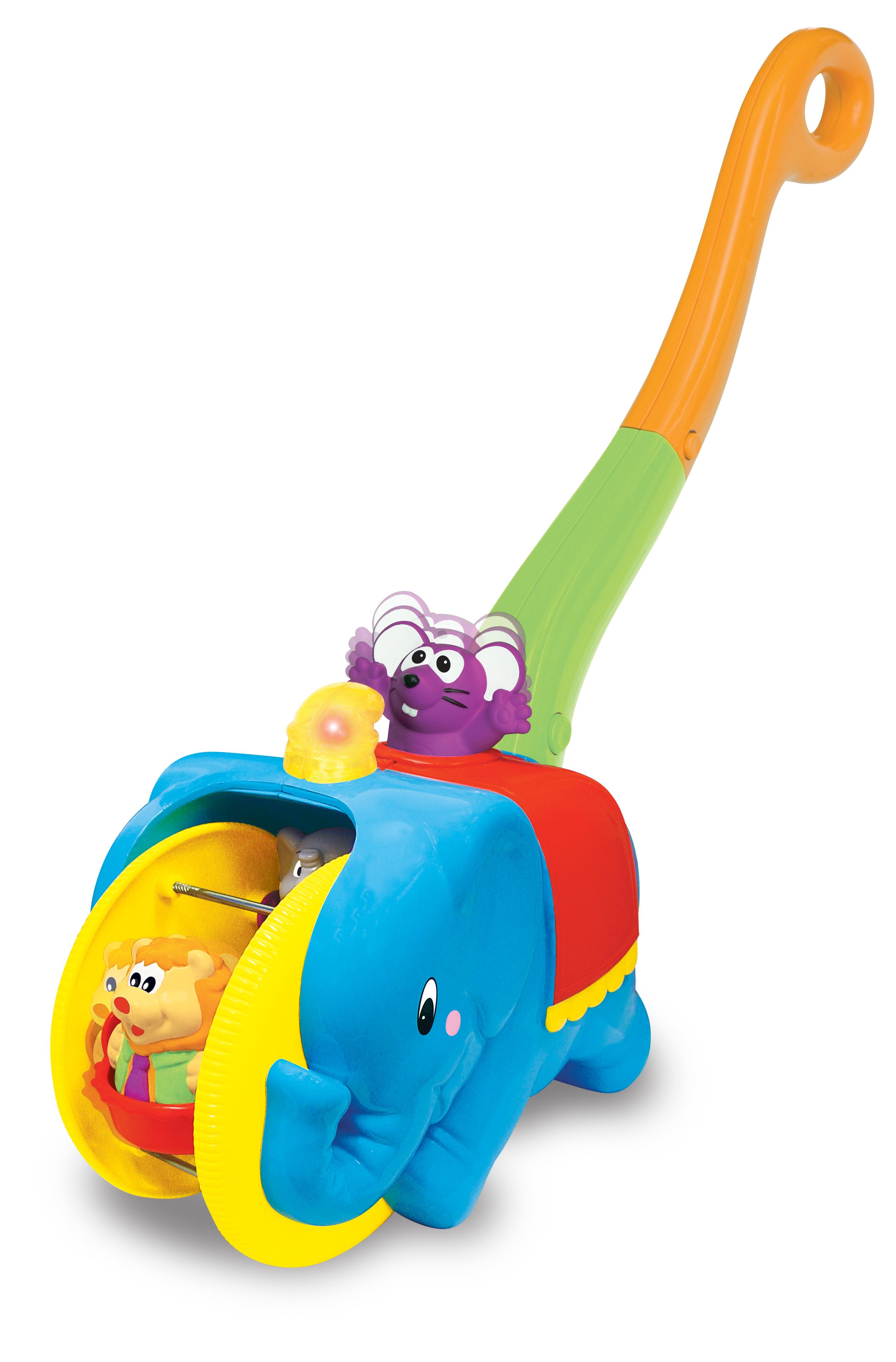 Kiddieland Игровая каталка с ручкой Цирковой слонKID 049759KID 049759 Игровая каталка с ручкой Цирковой слон. Яркая, озвученная на русском языке игрушка-каталка с удобной ручкой развлечет малыша мигающими огоньками и веселыми песенками. Малыш, опираясь на ручку, легко сможет катить игрушку в различных направлениях. Во время движения игрушки фигурка мышонка двигается вверх-вниз, а цирковые зверушки весело кружатся в колесе. При этом звучат забавные песенки. Фигурки цирковых зверей легко снимаются, и малыш может играть с ними отдельно. Добро пожаловать в цирк! Упаковка презентационно-открытая. Питание: 2 батареи АА (входят в комплект). Размер игрушки: 46х12,5х37,3 см. Ссылка на видео обзор: http://www.youtube.com/watch?v=dK0E5ijQvWw Рекомендовано для детей возрастом от 18 месяцев.