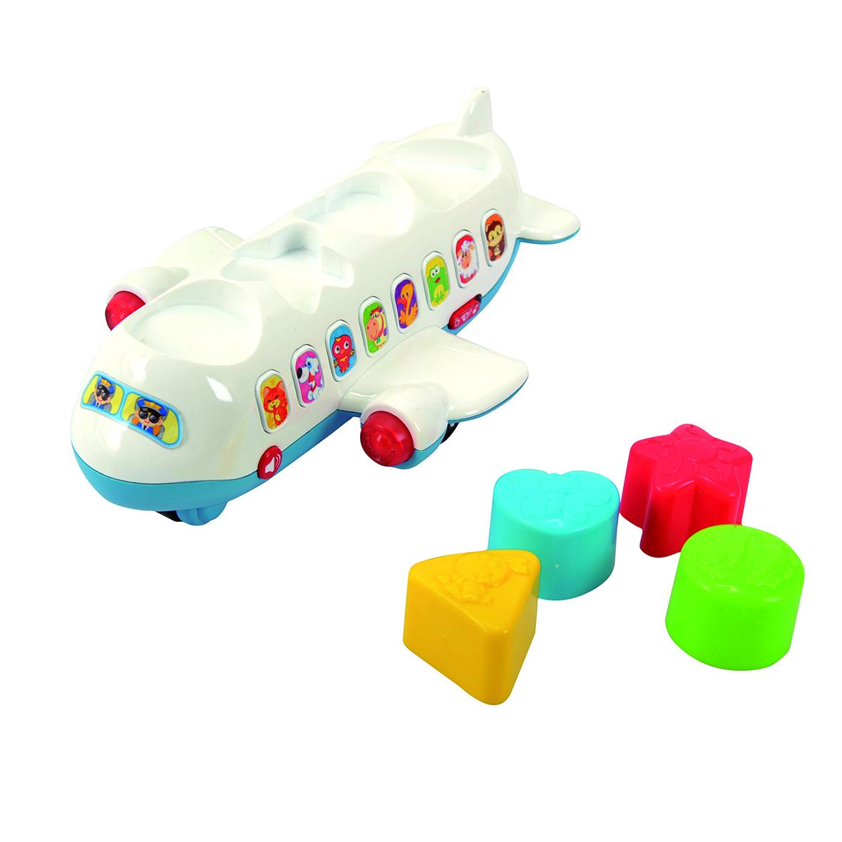 Playgo Развивающая игрушка Самолет-сортерPlay 2104Яркая развивающая игрушка в виде самолёта-сортера с разноцветными фигруками. Со световыми и звуковыми эффектами