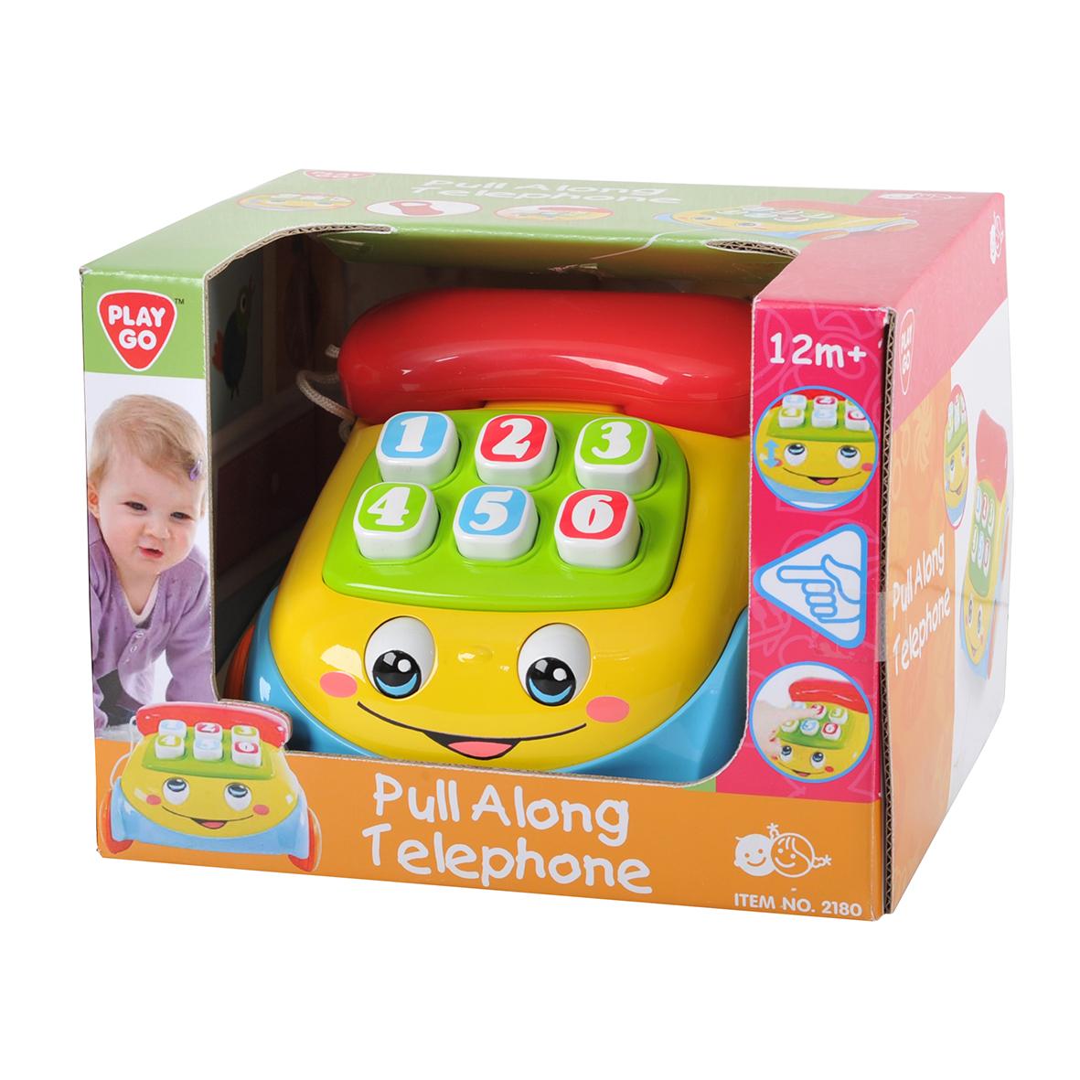 Playgo Каталка ТелефонPlay 2180Забавная каталка на веревочке, при движении раздаётся звук звонящего телефона и вращаются глазки. На трубке есть зеркальце, кнопки набора номера пищат при нажатии на них.