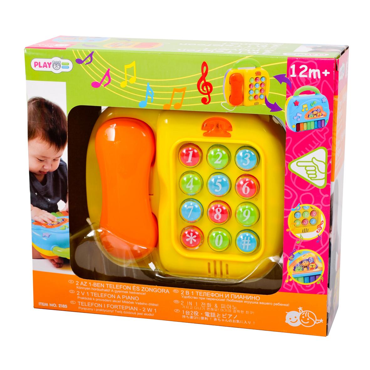 Playgo Развивающий центр Телефон и пианиноPlay 2185Развивающий центр Телефон и пианино - двусторонняя игрушка. Телефон со световым и звуковым эффектами. Имитирует устройство настоящего: кнопочки с цифрами, при нажатии пищат, слышны гудки. Пианино с разноцветными клавишами. Есть демонстрационная клавиша для просмотра возможностей и инструментальная клавиша. Для работы требуются 3 батарейки АА (входят в комплект).