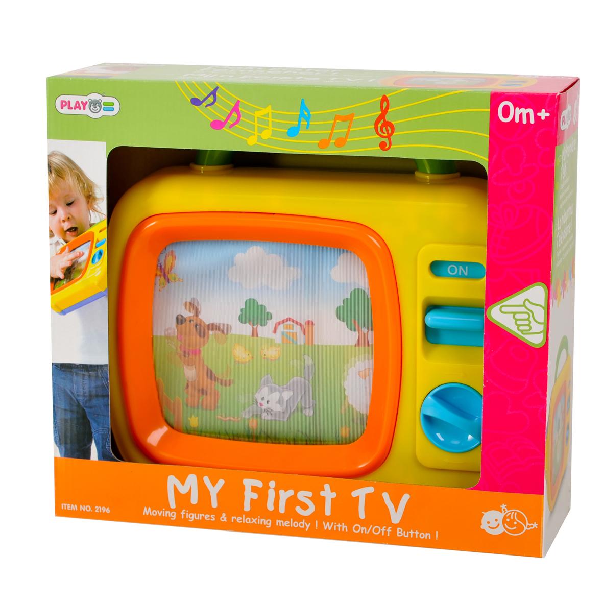 Playgo Музыкальная игрушка My First TvPlay 2196Музыкальная игрушка Playgo My First Tv - это маленький механический телевизор с ручкой-переноской, который обязательно понравится вашему малышу. Экран телевизора переливается и прокручивает небольшой сюжет из жизни животных в деревенской атмосфере. Картинка медленно плывет, прокручивается полностью примерно за 2 минуты, и повторяется снова. Смена картинок сопровождается красивой мелодией, Колыбельной Брамса. Игрушка приводится в действие при помощи механического завода. Такая музыкальная игрушка надолго привлечет внимание вашего малыша.