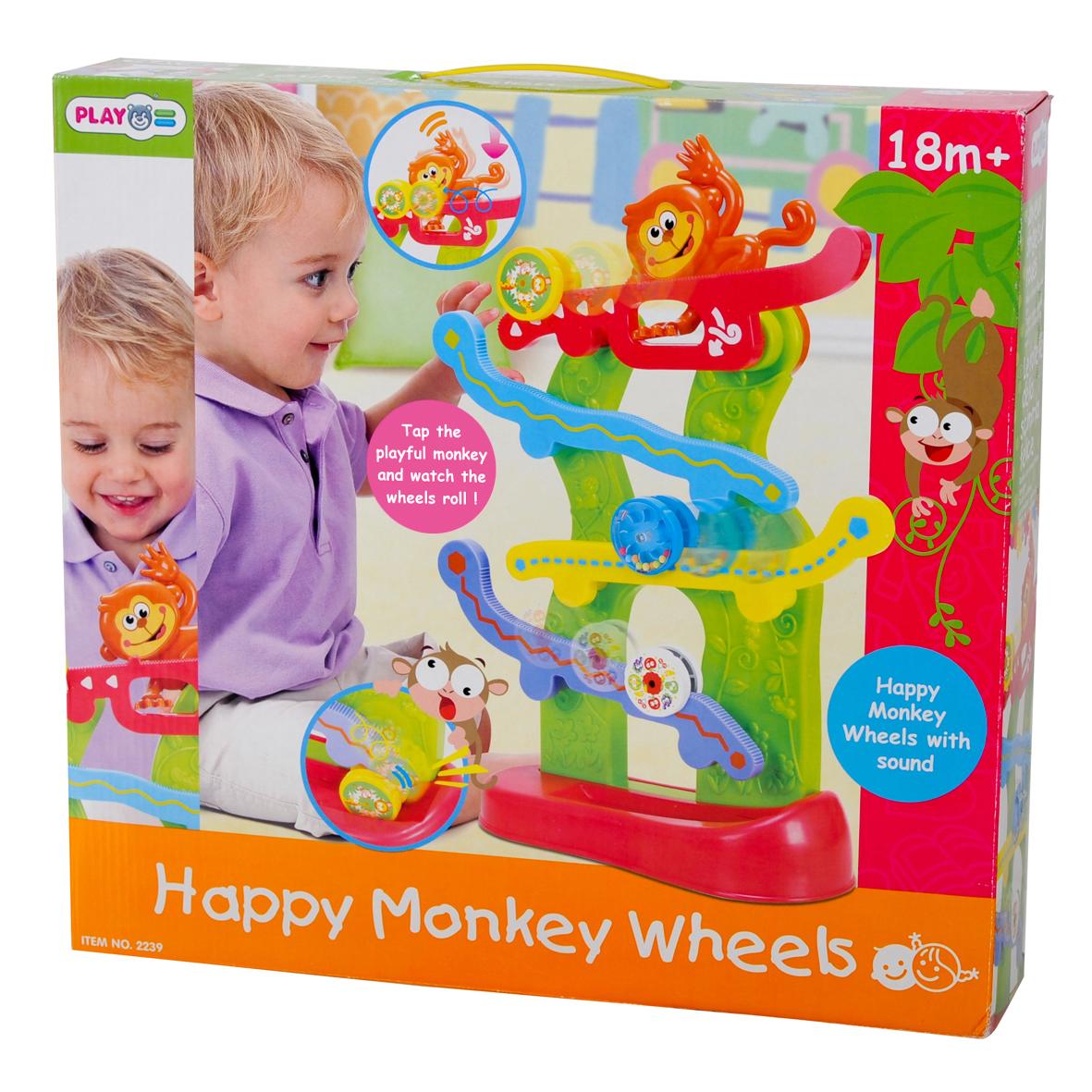 Playgo Развивающая игрушка Лабиринт с обезьянкой, 40 смPlay 2239Развивающая игрушка Лабиринт с обезьянкой - яркая развивающая игрушка для малышей. Малыш будет наблюдать за разноцветными колесиками, скатывающимися вниз по горкам. Чтобы запустить колесико, нужно нажать на хвост обезьянки. Лабиринт научит ребенка концентрировать внимание, сформирует представление о цветах, развивает мелкую моторику и сенсорику детей. Материал - пластмасса