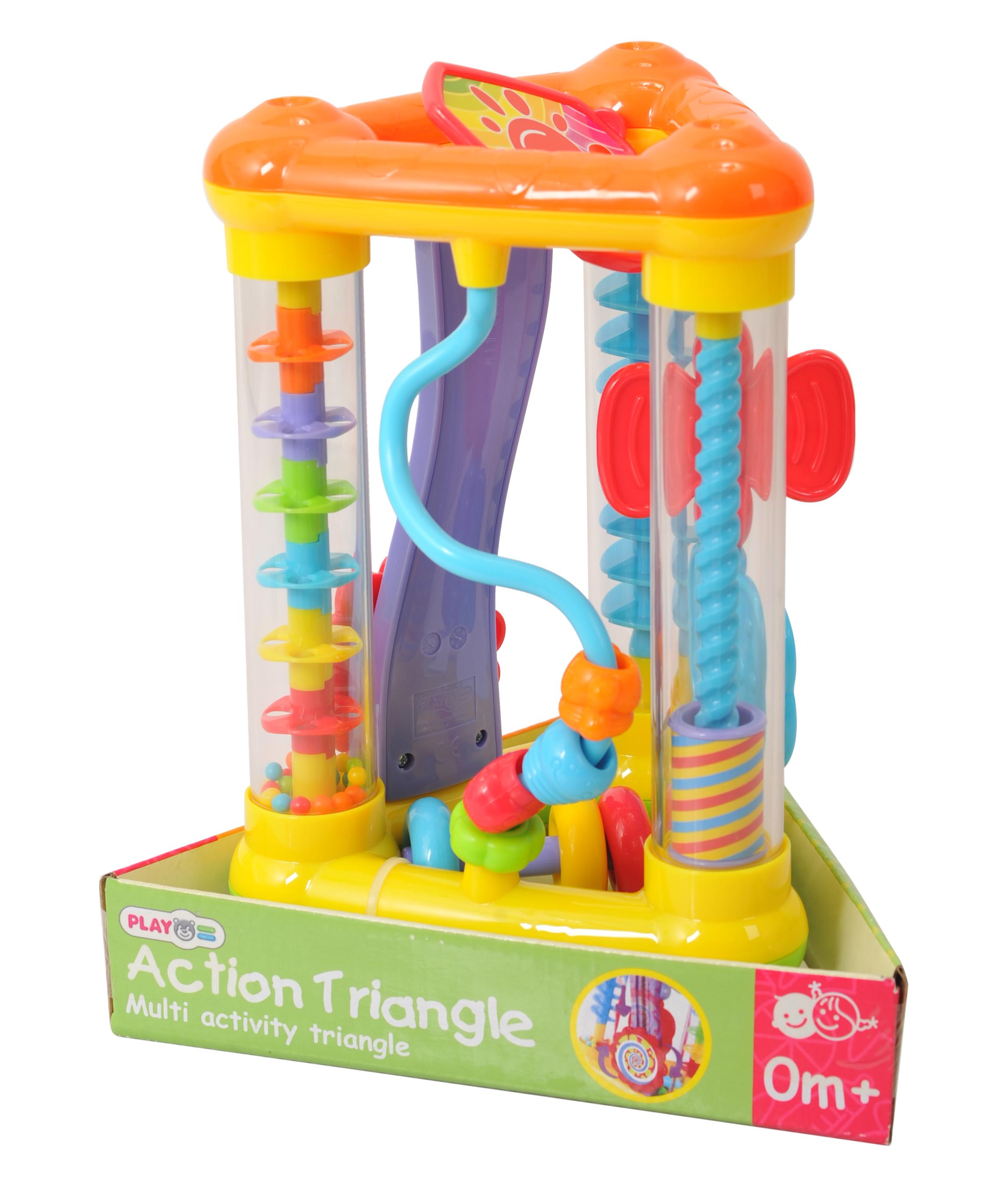 Playgo Активный игровой центр ТреугольникPlay 2249Вашему малышу захочется разобраться в этой яркой игрушке, потрогать и покрутить все элементы набора. Множество интерактивных элементов, спиральки, безопасное зеркальце, надолго увлекут ребенка. По цветам спиралек малыш научится распознавать цвета: зеленый, голубой, желтый, красный. Желоб, по которому скатываются шарики, фиолетового цвета. Малыш научится узнавать цвета. Игрушку можно брать всюду с собой, благодаря её небольшим размерам. Игрушка развивает моторику и мышление, побуждает ребенка к двигательной активности.